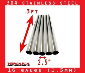 2 5 Stainless Polished Exhaust Straight Pipe Piping Tube 16 Gauge 3 Feet 5 pack