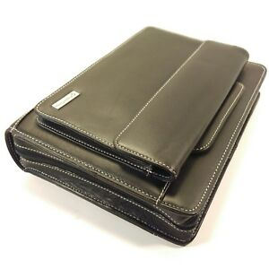 Franklin Covey Black Leather Classic Planner Organizer Zipper Handles