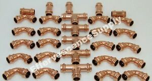 lot Of 30 1 2 Propress Copper Fitting 5 Tees 20 Elbows 5 Couplings