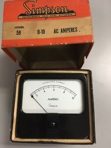 Simpson Model 59 Vintage Panel Meter 0 10 Ac Amps New In Box