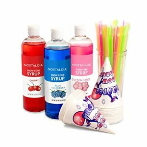 Nostalgia Sck3 Premium Snow Cone Syrup Party Kit Cones Shaved Ice Tabletop Food