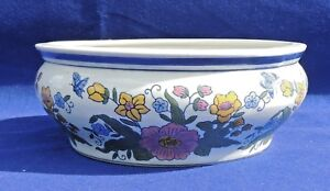 Vintage Aaa Imports Chinese Hand Painted Ceramic Fish Bowl Pot Planter 3823