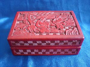 Antique Chinese Cinnabar Box With Carved Lid