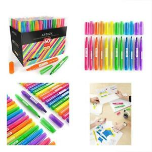 Arteza Highlighters Set Of 60 Bulk Pack Colored Markers Wide Narrow Chisel For