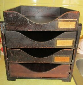 Vintage Wood 4 Dovetail Tray Desk Organizer Rack Globe