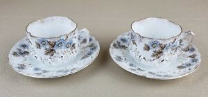 Two Antique Ls S N Y Gold Gilt Blue Flower Ruffle Tea Cup Saucer Made Germany