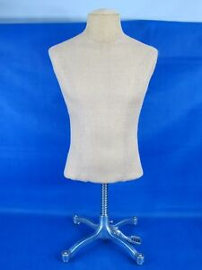Male Mannequin Light Cloth Fabric Torso With Rolling Wheel Metal Stand Display