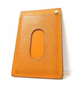 Hermes Mini Name Card Case Business Pass Id Wallet Leather Brown
