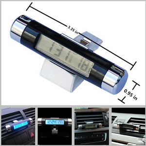 Car Vehicle Air Vent Clip Blue Led Backlight Digital Display Clock Thermometer