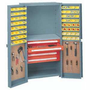 Storage Cabinet With Peboards 5 Drawers 64 Yellow Bins 38x24x72 Lot Of 1