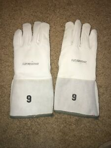 Leather Work Gloves 9 Medium Lined Cut Resistant New