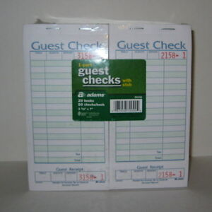 1 Case Adams 1 part Guest Checks With Stub 80 Books With 50 Checks Each 359962