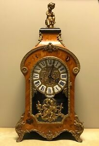 Rare Vintage Tiffany Louis Xv Boulle Style Inlay Bronze Mantle Clock Serviced