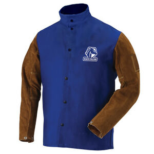 Revco Fr Cotton Cowhide Hybrid Welding Jacket Royal Blue