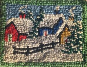Great Vintage 1920s Grenfell Mission Style Canadian Folk Art Hooked Table Mat