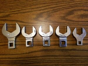 Lot Of 5 Mac Tools 1 2 And 1 4 Crowfoot Wrenches