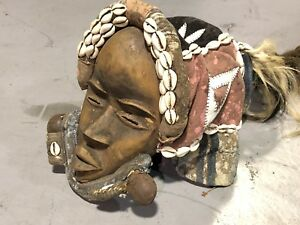 Authentic Vintage Large Original Carved Face African Mask Tribal Art Dan Deagl