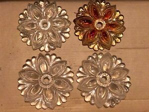 Lot 4 Vintage Glass Flower Floral Curtain Pull Back Tie Backs 3 5 Clear