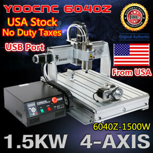 us Free usb 4 Axis 6040 1500w Cnc Router Cutting Milling Engraving Machine 110v