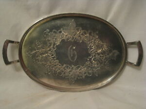 Antique Derby Silver Plate Handled Platter Ornate Rimmed Grape Vine Monogram G