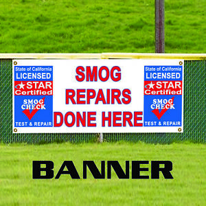 Smog Repairs Done Here Star Outdoor Vinyl Banner Sign