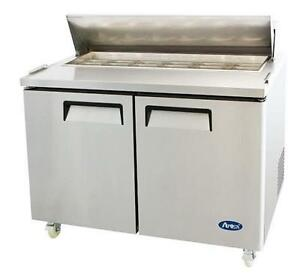 Atosa Msf8302gr 48 2 Door Sandwich Prep Table Refrigerated W Casters Pans