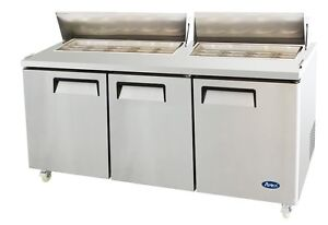 Atosa Msf8304gr 72 3 Door Sandwich Prep Table Refrigerated W Casters