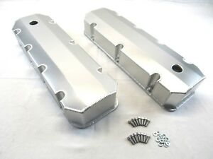 Bbc Chevy 454 Fabricated Tall Aluminum Valve Cover W Holes Clear Ano Bpe 2314ca