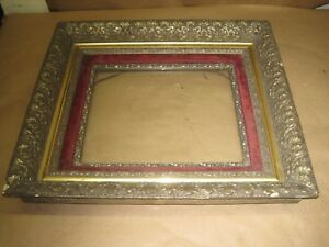 Antique Mid Victorian Picture Frame Carved Gilded Large 5 Frames In 1 19 X 17