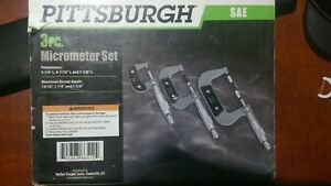 Pittsburgh 3 Pc Micrometer Set W Case 66512