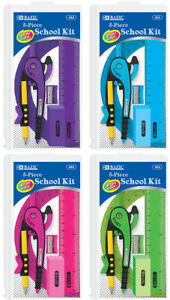 Bazic 5 Pcs School Kit W Zipper Pouch Case Pack 24