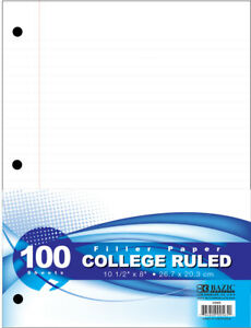 Bazic Filler Paper College Ruled 100 Sheets Case Pack 36