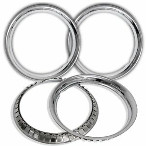 Trim Rings 15 Inch Diameter Chrome Steel Style Wheel Edge Beauty Rims Pack Of 4
