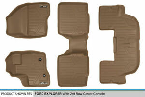 2011 2014 Ford Explorer W 2nd Row Console Tan Floor Mats 1st 2nd 3rd Row Liners