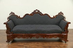 Victorian To Empire Antique 1840 Carved Mahogany Sofa New Upholstery 30148