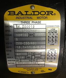 5hp 3ph Baldor Electric Motor
