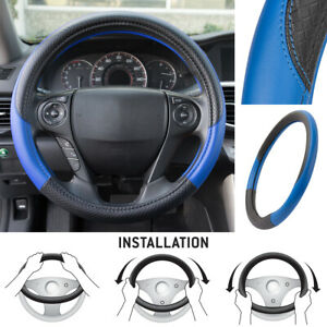Motor Trend Textured Pu Leather Steering Wheel Cover For Car Suv Vans Blue black
