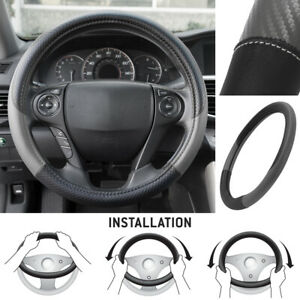 Motor Trend Maxgrip Pu Leather Car Steering Wheel Cover Black Gray