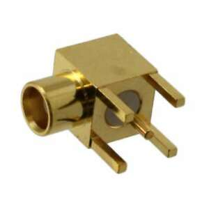 1x Schuner 85mcx50 0 1 111 Gold Contact Right Angle Rf Coaxial Jack Pcb Mount