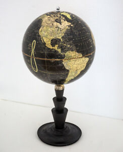 10 Terrestrial Antique Table Black Ocean Globe 1930 Cram Art Deco Base