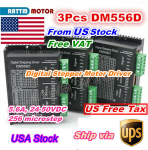 3pcs Dm556d Digital Nema17 23 Stepper Motor Driver 24 50v Dc For Cnc Router us