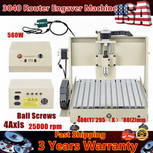 110v Cnc Router Engraver Engraving Cutter 4 Axis 3040 560w Motor Desktop Cutting