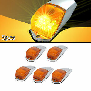 5x Amber 31 Led Chrome Cab Roof Marker Light For Peterbilt Kenwort