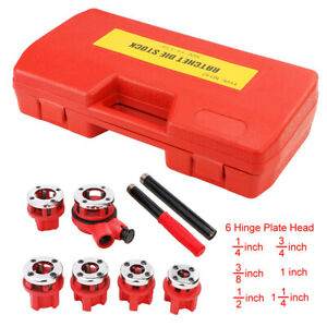 U s Solid Manual Pipe Threader Tool Kit W 6 Dies Set Ratchet Handle Case