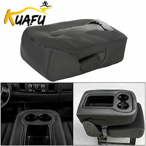 Leather Armrest Console Lid Top Cover For 07 14 Silverado Tahoe Sierra Black