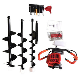 52cc Gas Powered Post Hole Digger Engine Kit Power Engine 4 6 8 auger Bits Ups