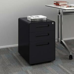 Devaise 3 Drawer Metal Mobile File Cabinet With Lock Legal letter Size Black