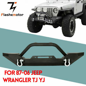 Front Bumper Winch Plate D Ring Black For 86 06 Jeep Wrangler Tj Yj