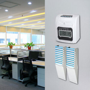 Employee Attendance Punch Time Clock With 2pcs 10 pocket Card Rack 100 Time Card