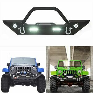 Front Bumper W Winch Plate Led Lights Bull Bar For 2007 2018 Jeep Wrangler Jk